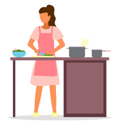 woman cooks spaghetti pots bowls stay at home vector image