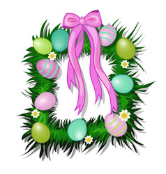 wreath grass and flowers with easter eggs vector image