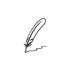 writing feather hand drawn sketch icon vector image