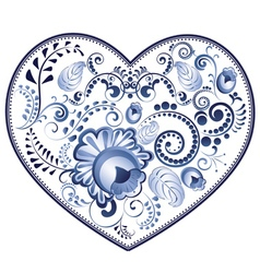 Blue Floral Heart vector image