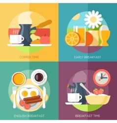 Breakfast icons flat set with coffee time corn vector image vector image