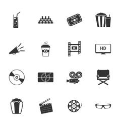 Cinema black and white flat icons set vector image