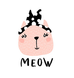 cute cat girl with text meow hand vector image vector image