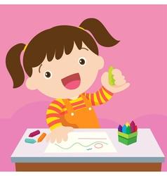 cute girl drawing vector image