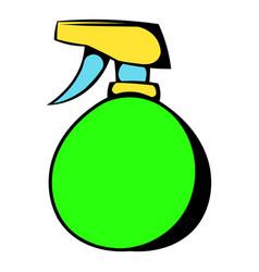 Green plastic spray bottle icon icon cartoon vector