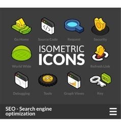 Isometric outline icons set 8 vector image vector image