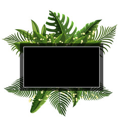 border template with leaves and flowers vector image