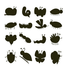 colorful insects silhouette icons isolated vector image