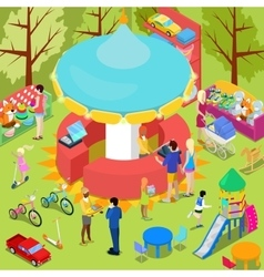 Isometric Children Toys Shop Interior with Toys vector image vector image