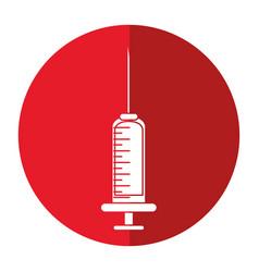medical syringe blood element shadow vector image