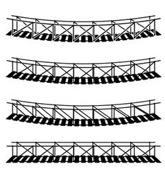 simple rope suspension hanging bridge black symbol vector image