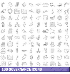 100 governance icons set outline style vector image vector image