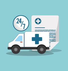 ambulance transport emergency 24-7 document vector image