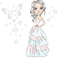 Beautiful fashionable girl bride vector