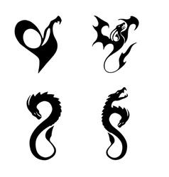 black stylized of dragons vector image vector image