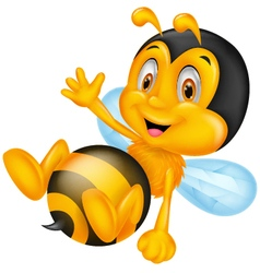 Cute little bee cartoon waving hand vector image vector image