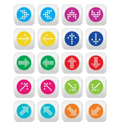 Dotted colorful arrows round icons set isolated on vector image vector image