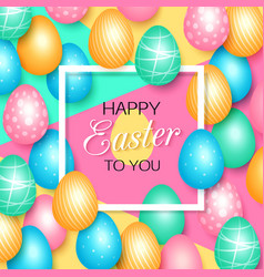 easter greeting card with colorful eggs vector image vector image