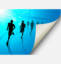 group of runners on a blue cityscape background vector image