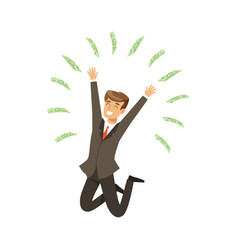 happy rich successful businessman character having vector image