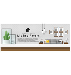 interior design table top and modern living room vector image