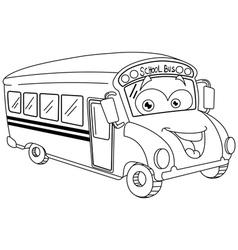 outlined cartoon school bus vector image vector image