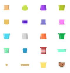 various pots icons set flatr style vector image