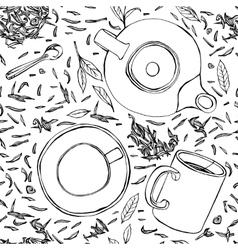 Handdrawn Seamless Tea Pattern 01 A vector image vector image