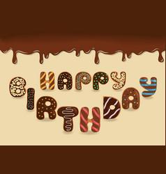 happy birthday chocolate donuts vector image