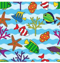 seamless pattern with colorful fish and coral vector image vector image