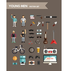 Set of Flat Design Infographic Elements Young Mens vector image
