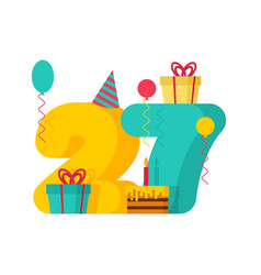 1 year happy birthday greeting card 1th vector image