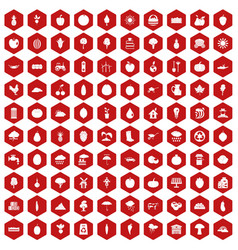100 productiveness icons hexagon red vector