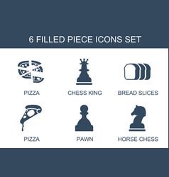 6 piece icons vector image