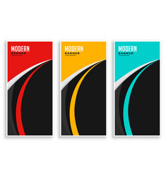 Abstract curve wavy banners set in three colors vector