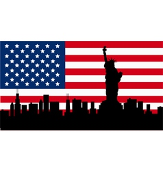 american design with statue liberty flag vector image