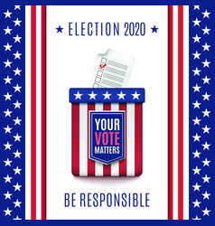 American election 2020 background with ballot box vector
