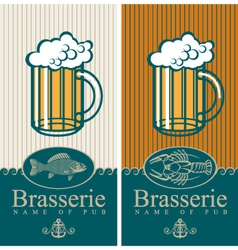 beer and seafood vector image