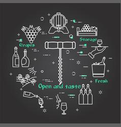 black banner winemaking - a wine bottle opener vector image
