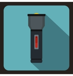 Black flashlight icon flat style vector image vector image