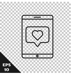 Black line mobile phone and like with heart icon vector