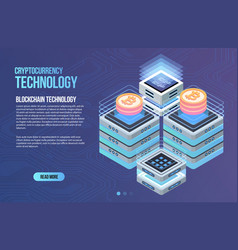 blockchain network business template vector image
