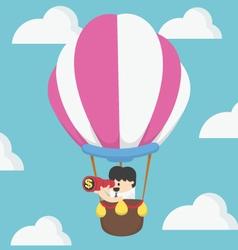 Businessman in air balloon search vector