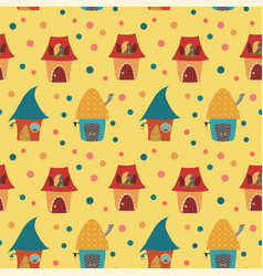 Cartoon houses childlike pattern on yellow backgro vector