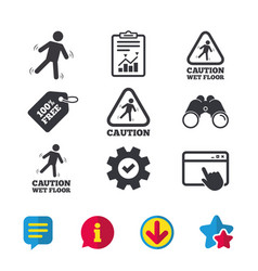 caution wet floor icons human falling signs vector image