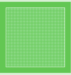 Checkered green fabric with white circles and a vector