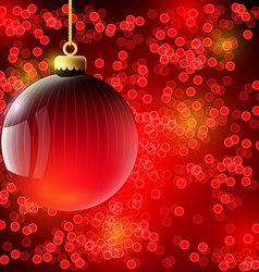 Christmas background with red ball vector image