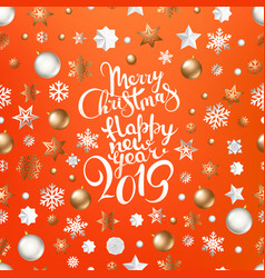 christmas logo on coral color background vector image