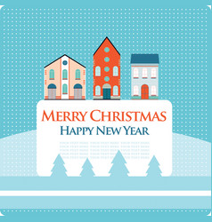 christmas new year greeting card with street view vector image