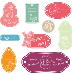 christmas stickers2 vector image
